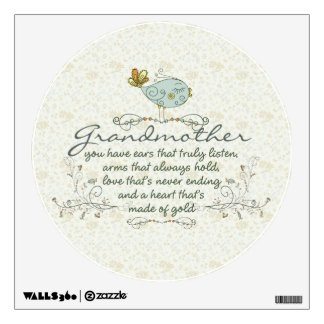 Grandmother Poem with Birds Wall Decal
