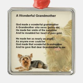 Grandmother Poem - Yorkshire Terrier Metal Ornament