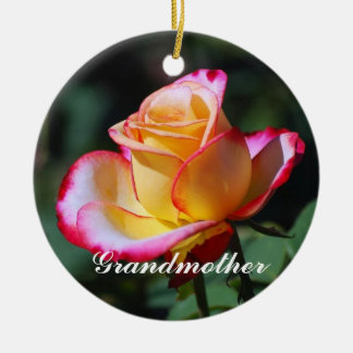 Grandmother Red and Yellow and Pink Roses Ornament