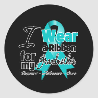 Grandmother - Teal Awareness Ribbon Classic Round Sticker