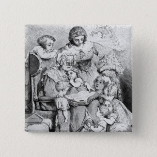 Grandmother telling a story to her pinback button
