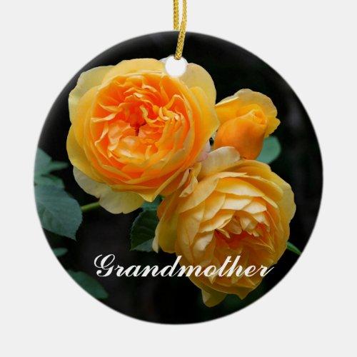 Grandmother Three Yellow Roses Ornament