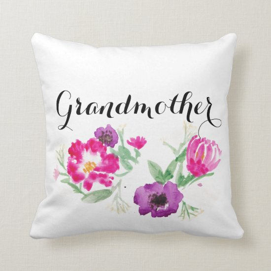 Grandmother Watercolor Flowers Pillow Mother's Day