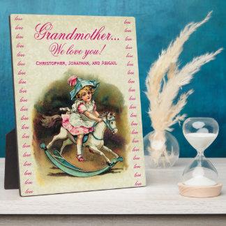 Grandmother We Love You Vintage Girl Rocking Horse Plaque