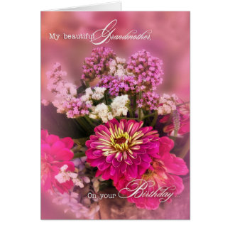 Grandmother's Birthday Pink Floral Bouquet Card