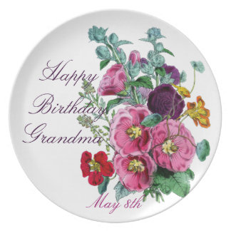 Grandmother's Hollyhocks Party Plates