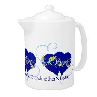 Grandmother's Love Hearts and Flowers Teapot