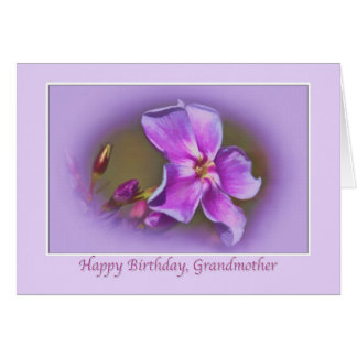Grandmother's Pink and Lavender Floral Birthday Ca Card