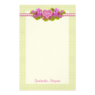 Grandmother's Pink Flower Hearts Stationery