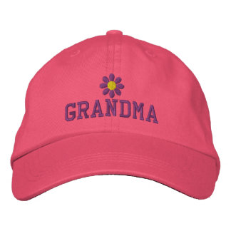 Grandmothers Purple Flower Embroidered Hat