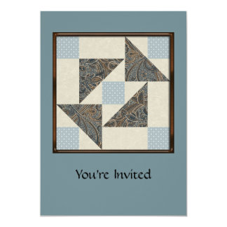 Grandmother's Puzzle Blues and Greys Card
