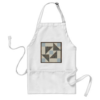 Grandmother's Puzzle in Blue, Brown and Cream Adult Apron