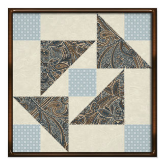 Grandmother's Puzzle in Blue, Brown and Cream Card