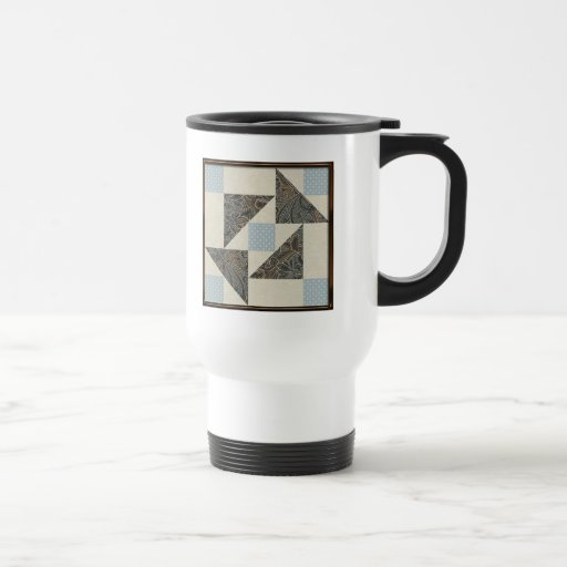 Grandmother's Puzzle in Blue, Brown and Cream Mugs