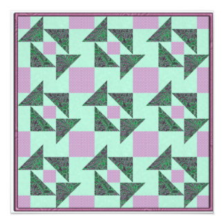 Grandmother's Puzzle in Green and Lavender 5.25x5.25 Square Paper Invitation Card