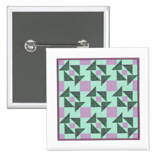 Grandmother's Puzzle in Green and Lavender Pinback Button