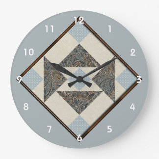 Grandmother's Puzzle Quilt Square Cream and Blue Wallclocks
