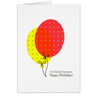 Grandniece Birthday Cards, Big Colorful Balloons Greeting Card