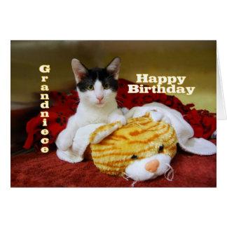 Grandniece Happy Birthday Kitten with Toy Tiger Card
