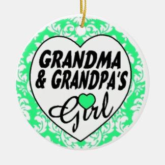 Grandpa and Grandma's Girl Ceramic Ornament