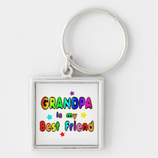 Grandpa Best Friend Silver-Colored Square Keychain