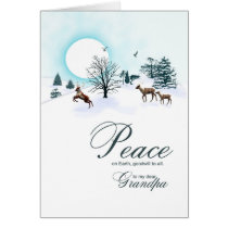 Grandpa, Christmas scene with reindeer Card