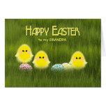 Grandpa Cute Easter Chicks Speckled Eggs in Grass Card
