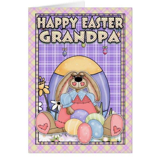 Grandpa Easter Card - Easter Bunny & Easter Eggs
