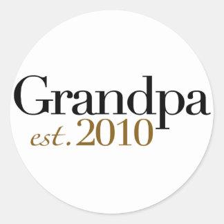 Grandpa Est 2010 Classic Round Sticker