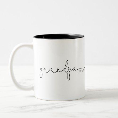 Grandpa Established  Grandma Gift Two_Tone Coffee Mug