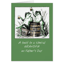 Grandpa Father's Day Frogs Toasting with Beer Card