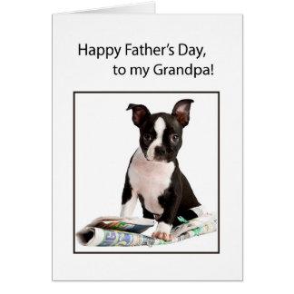 Grandpa Father's Day Funny Dog Newspaper Card