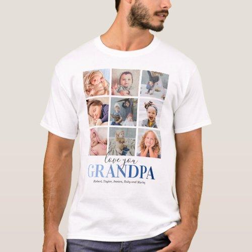 Grandpa Gift  Love You Papa Photo T_Shirt