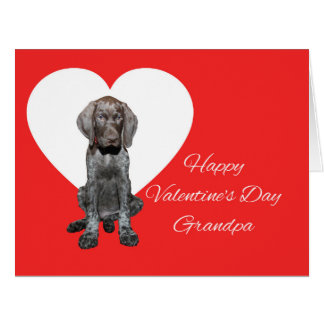 Grandpa Glossy Grizzly Valentine Puppy Love Large Greeting Card