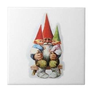 GRANDPA GNOME WITH BABY GNOMES CERAMIC TILE