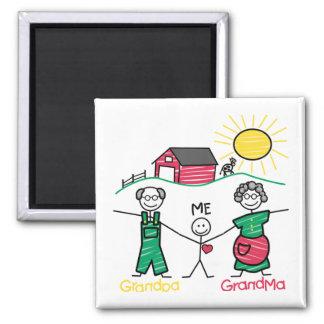 Grandpa Grandma & Me 2 Inch Square Magnet