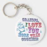 Grandpa I Love You More Than Cookies! Basic Round Button Keychain