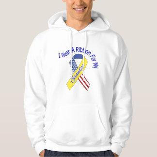 Grandpa - I Wear A Ribbon Military Patriotic Hooded Pullover