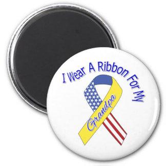 Grandpa - I Wear A Ribbon Military Patriotic 2 Inch Round Magnet