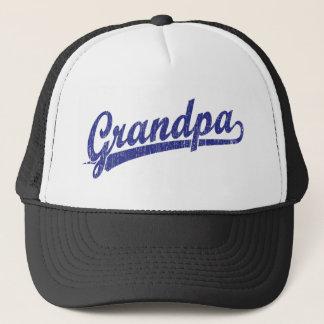 Grandpa in blue trucker hat