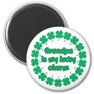 Grandpa is My Lucky Charm 2 Inch Round Magnet