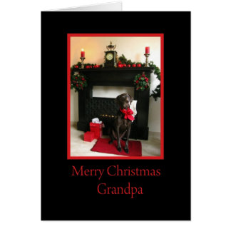 Grandpa merry christmas german pointer at fireplac greeting card