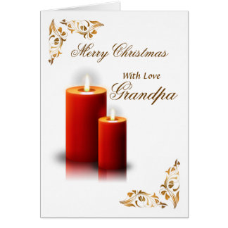 Grandpa / Merry Christmas - Red Candles / Flourish Card