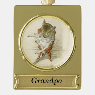 Grandpa Mouse Reading a Newspaper Gold Plated Banner Ornament