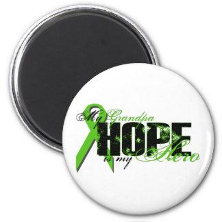 Grandpa My Hero - Lymphoma Hope 2 Inch Round Magnet