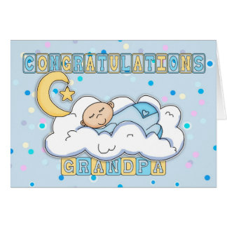 Grandpa New Baby Boy Congratulations Card