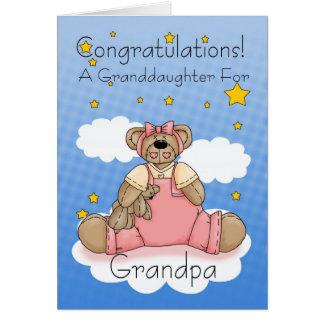 Grandpa New Baby Girl Congratulations Greeting Card