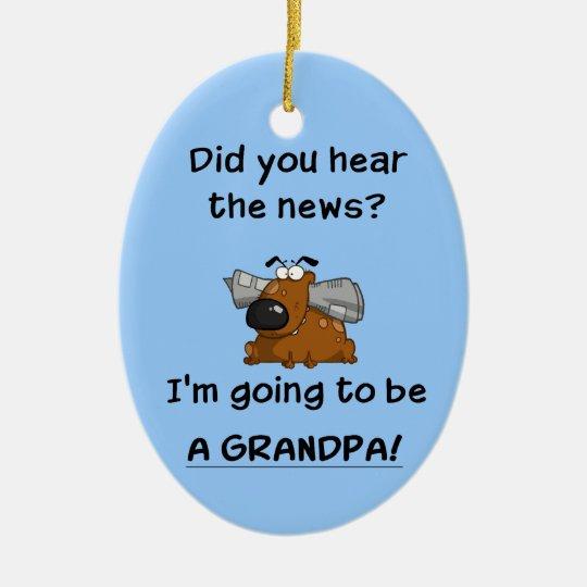 Grandpa News Ceramic Ornament