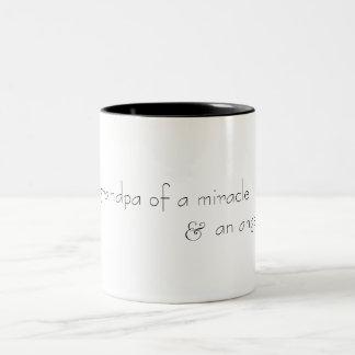 grandpa of a miracle & an angel (b&w) Two-Tone coffee mug