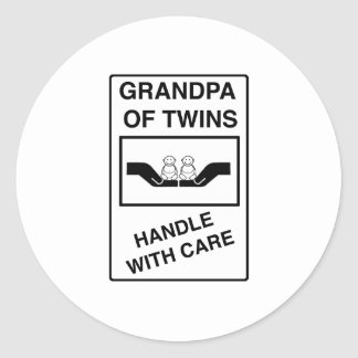 Grandpa of Twins Handle With Care Round Stickers